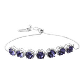 J Francis Tanzanite Colour Crystal From Swarovski Bolo Bracelet in Sterling Silver