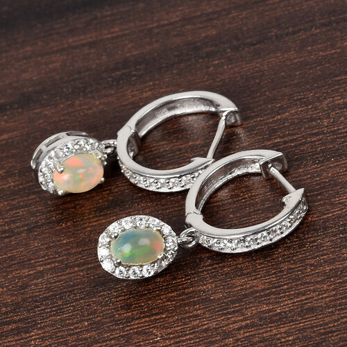 AA Ethiopian Welo Opal and Natural Cambodian Zircon Earrings (with Clasp) in Platinum Overlay Sterling Silver 1.25 Ct.