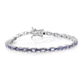 7.25 Ct Tanzanite Tennis Style Bracelet in Platinum Plated Silver 10 Grams 7.5 Inch
