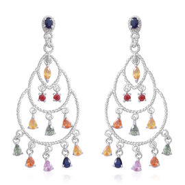 Rainbow Sapphire Chandelier Earrings (with Push Back) in Rhodium Plated Sterling Silver 4.250 Ct. Silver wt 7.20 Gms.