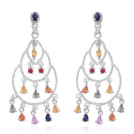 Rainbow Sapphire Chandelier Earrings (with Pus Back) in Rhodium Plated Sterling Silver 4.250 Ct. Silver wt 7.20 Gms.