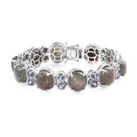 100% Natural Fire Labradorite (Ovl 11x9 mm),Tanzanite Bracelet (Size 7) in Platinum Overlay Sterling