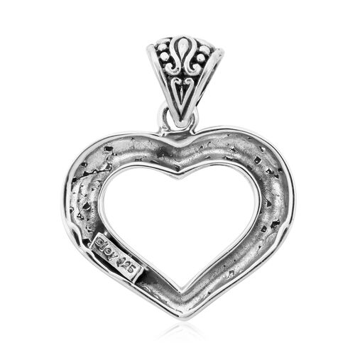 Royal Bali Collection - Sterling Silver Plumeria Floral Heart Pendant