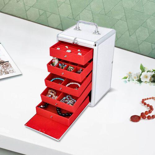New Arrival- Five Tier Anti-Tarnish Crocodile Skin Pattern Jewellery Box with Lock and Handle - Whit