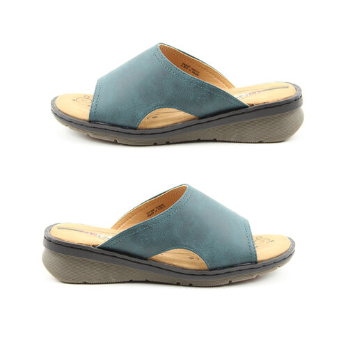 Heavenly Feet Womens Ginger Memory Foam Sandal in Ocean Blue (Size 5)