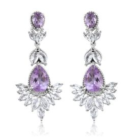 Rose De France Amethyst (Pear), White Topaz Earrings (with Push Back) in Platinum Overlay Sterling Silver 12.750 Ct. Silver wt 9.06 Gms.