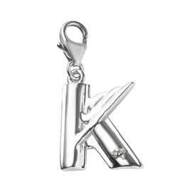 Diamond (Rnd) Charm in Platinum Overlay Sterling Silver 0.005 Ct.