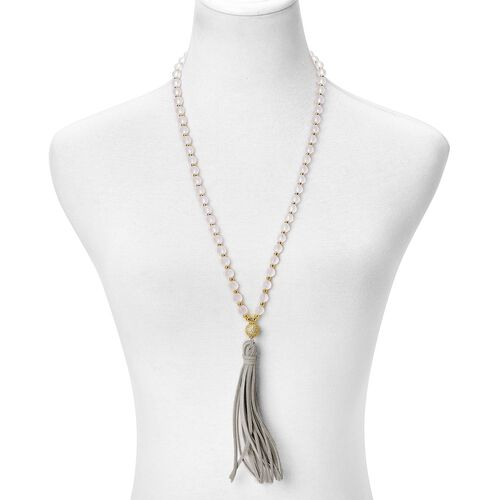 Simulated White Diamond Tassel Necklace (Size 30 to 40) in Yellow Gold Tone