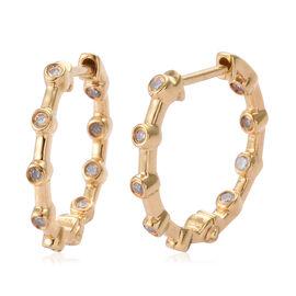 Diamond (Rnd) Hoop Earrings in 14K Gold Overlay Sterling Silver 0.200 Ct.