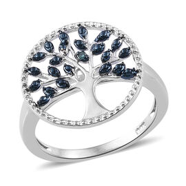 Blue Diamond (Rnd) Tree of Life Ring in Platinum Overlay Sterling Silver