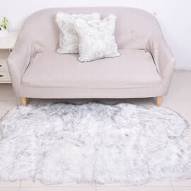 3 Piece Set - Long Pile Faux Fur Rug (100x180cm) with 2 Sofa Cushion Covers (45x45cm-2Pcs) - White