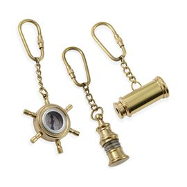 Set of 3 - Wheel Compass, Telescope & Lamp Key Chains in Gold Plated