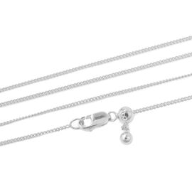 Rhodium Overlay Sterling Silver Cable Chain Necklace (Size 16)