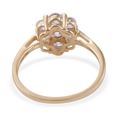 J Francis - 9K Yellow Gold (Rnd) Pressure Set Ring Made With SWAROVSKI ZIRCONIA Gold wt 1.70 Gms.