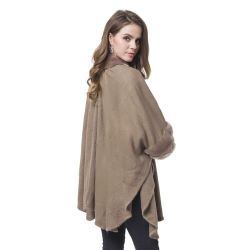 Designer Inspired - Chocolate Faux Fur Cape (Free Size)