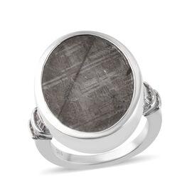 Meteorite (Ovl 20x15mm), Diamond Ring in Platinum Overlay Sterling Silver 12.16 Ct, Silver wt 6.13 G