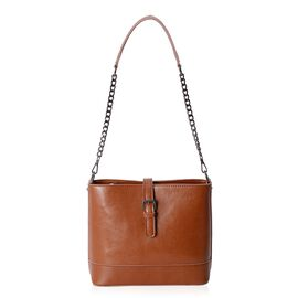 Close Out Deal 100% Genuine Leather Tan Colour Bag with External Zipper Pocket and Removable Shoulder Strap (Size 23x20.5x10.5 Cm)