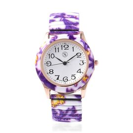 STRADA Japanese Movement Water Resistant Floral Printed Watch  in Rose Gold Tone - White and Purple