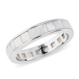 White Mother of Pearl (Sqr) Full Eternity Band Ring in Rhodium Overlay Sterling Silver