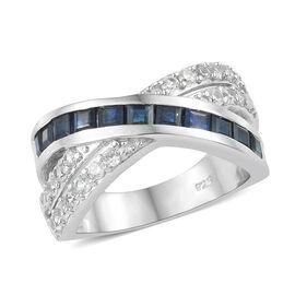 Kanchanaburi Blue Sapphire (Sqr), Natural Cambodian Zircon Criss Cross Ring in Platinum Overlay Ster