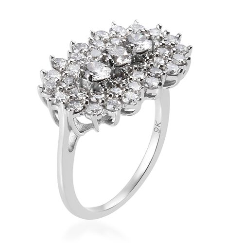 9K White Gold SGL Certified Natural Diamond (I3/G-H) Cluster Ring 2.00 Ct.