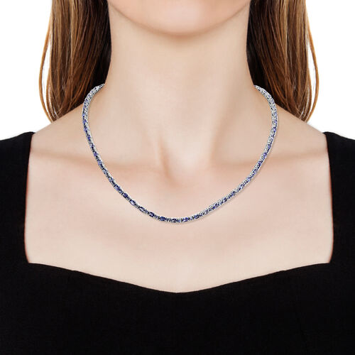 Tanzanite (Ovl and Rnd) Necklace (Size 18) in Platinum Overlay Sterling Silver 16.500 Ct, Silver wt 17.41 Gms