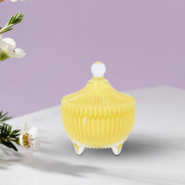 The 5th Season - Scented Candle with Citrine in Yellow Striped Glass Container