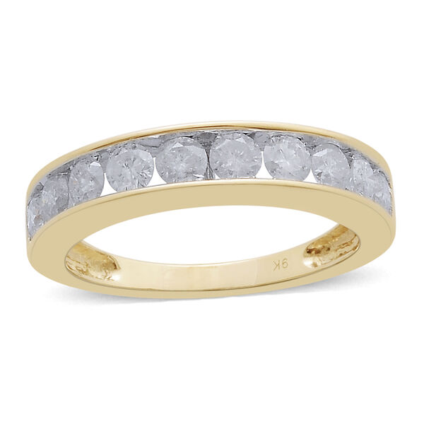 1 Carat Diamond Half Eternity Band Ring in 9K Yellow Gold 2.99 Grams SGL Certified I3 GH