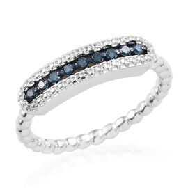 Blue Diamond (Rnd) Ring in Platinum Overlay Sterling Silver 0.100  Ct.