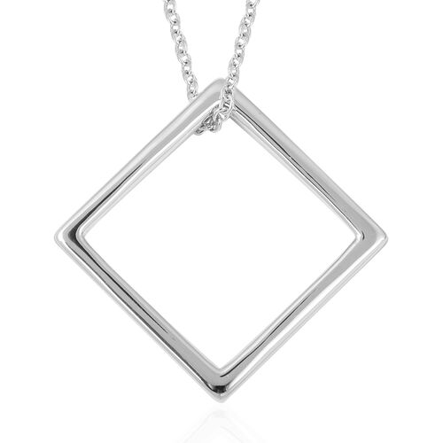 RACHEL GALLEY Rhodium Overlay Sterling Silver Square Pendant with Chain, Silver wt 5.56 Gms.