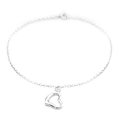 9K White Gold Heart Charm Round Belcher Bracelet (Size 7.25)
