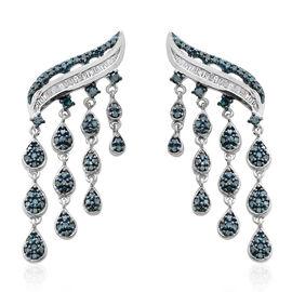 1 Carat Blue and White Diamond Falling Rain Drop Earrings in Sterling Silver 7.19 Grams