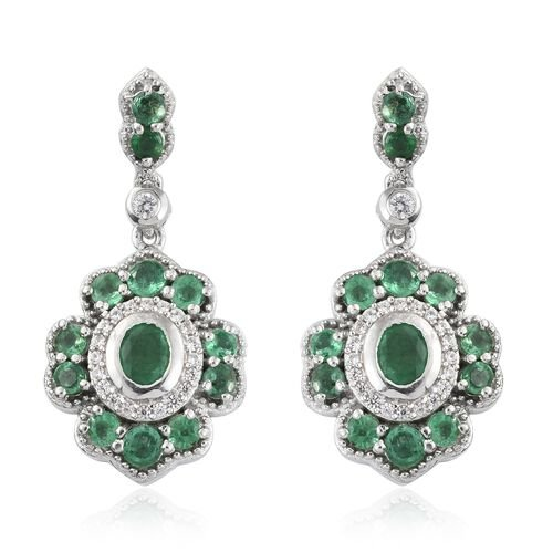 AA Kagem Zambian Emerald (Ovl), Natural Cambodian Zircon Earrings (with Push Back) in Platinum Overl