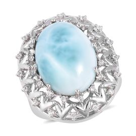 Larimar (Ovl 18x13 mm), Natural White Cambodian Zircon Ring in Rhodium Overlay Sterling Silver 11.500 Ct, Silver wt 6.28 Gms