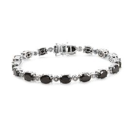 11.25 Ct Shungite and Zircon Tennis Bracelet in Platinum Plated Silver 14.27 Grams 8 Inch