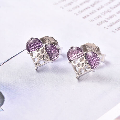RACHEL GALLEY Amethyst Lattice Heart Earrings (with Push Back) in Rhodium Overlay Sterling Silver 1.36 Ct.