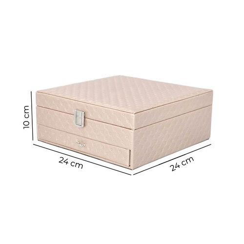 Embossed Checker Pattern 2-Layer Jewellery Box in Taupe