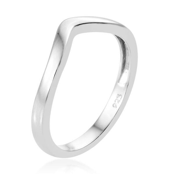 Platinum Overlay Sterling Silver Wishbone V Shape stackable Silver Ring