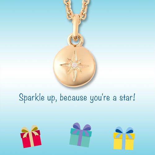 RACHEL GALLEY Diamond Kids Star Pendant with Chain (Size 16) in Yellow Gold Overlay Sterling Silver 0.08 Ct, Silver wt 6.01 Gms