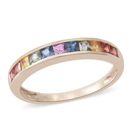 Designer Inspired- 9K Yellow Gold AA Rainbow Sapphire (Princess Cut) Ring 1.250 Ct.