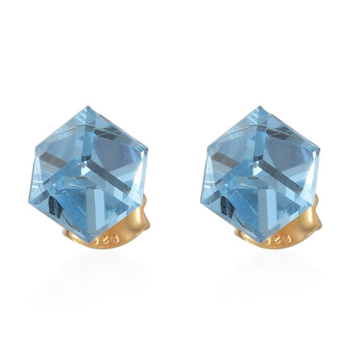 J Francis - Crystal from Swarovski - Aquamarine Colour Crystal Earrings (with Push Back) in 14K Gold Overlay Sterling Silver