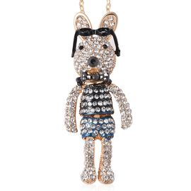 Multi Colour Austrian Crystal Bunny Pendant with Chain (30 with Extension) in Yellow Gold Tone