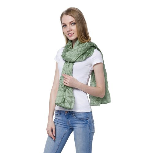 100% Mulberry Silk Pantone Greenery Colour Scarf (Size 180x110 Cm)