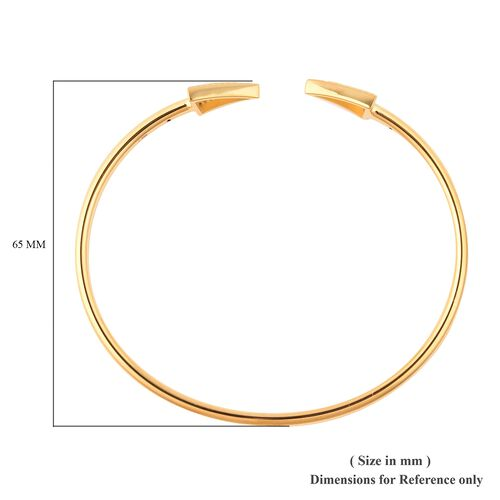 LucyQ Art Deco Collection - Natural White Cambodian Zircon (Rnd) Arrow Bangle (Size 8) in Yellow Gold Overlay Sterling Silver, Silver Wt. 7.96 Gms