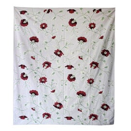 Hand Embroidery from Kashmir-100% Wool on Canvas White, Red and Green Floral and Leaves Pattern Blan