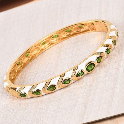 Designer Russian Diopside Enamelled Bangle (Size 7.5) in 14K Gold Overlay Sterling Silver wt 26.70 Gms