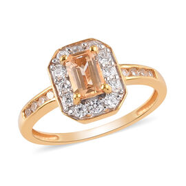 Golden Imperial Topaz and Natural Cambodian Zircon Ring in 14K Gold Overlay Sterling Silver 1.22 Ct.