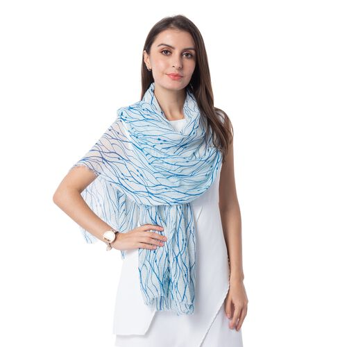 Blue and White Colour Waves Pattern Scarf (Size 180x90 Cm)