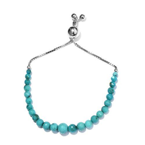 Arizona Sleeping Beauty Turquoise Adjustable Bead Bracelet (Size 7.5) in Platinum Overlay Sterling S