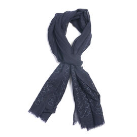 92% Wool and  8% Silk Check Pattern Blue Colour Scarf  (Size 180x70 Cm)